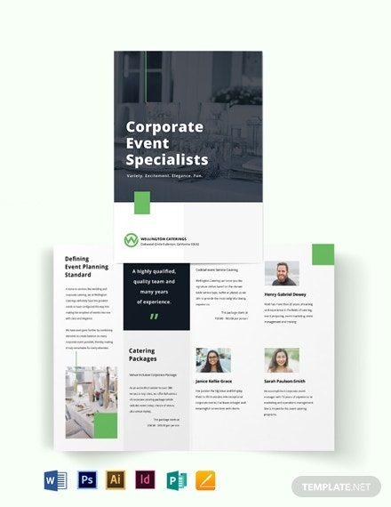corporate event catering bi fold brochure template
