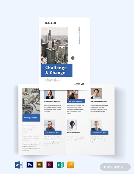 corporate event company bi fold brochure template