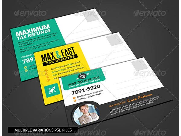 corporate financial services postcard template