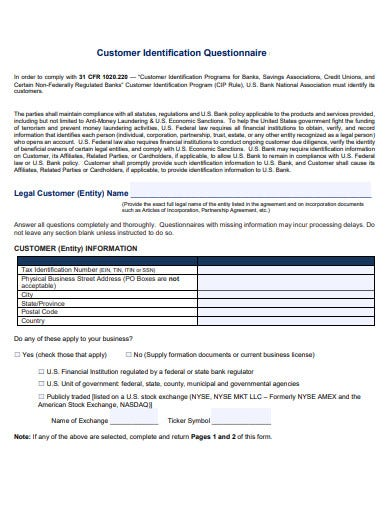 customer identification questionnaire