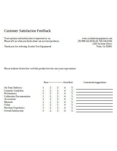 customer satisfaction feedback template