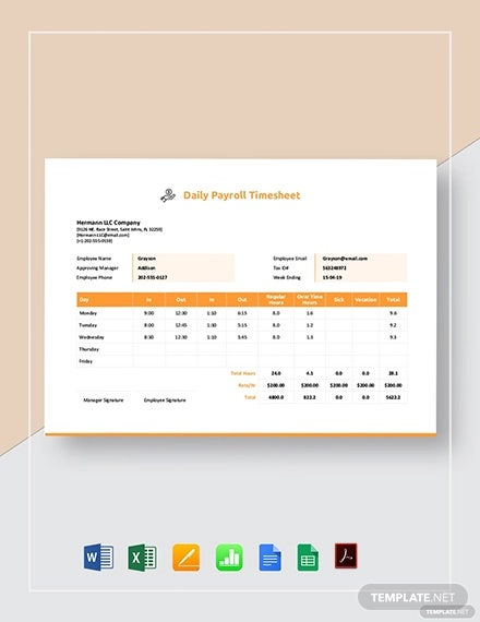 daily payroll timesheet template