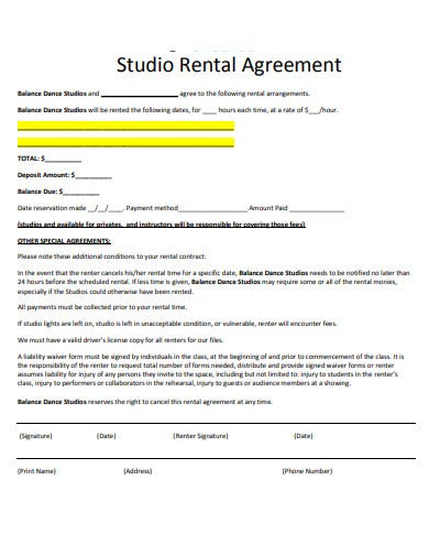 dance studio rental agreement template