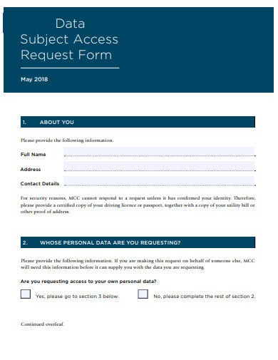 data subject access request form template