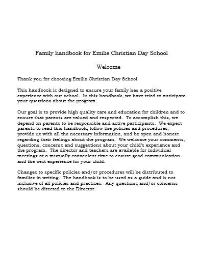 day school parent handbook template