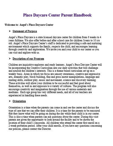 daycare parent handbook template