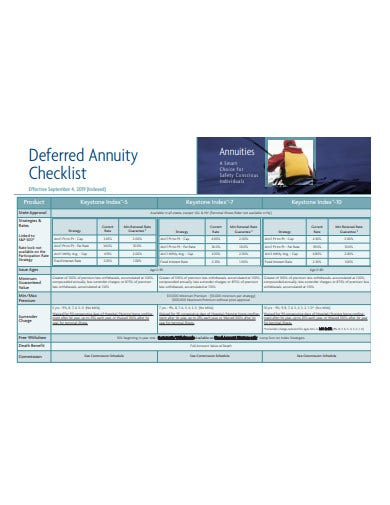 deferred annuity checklist example