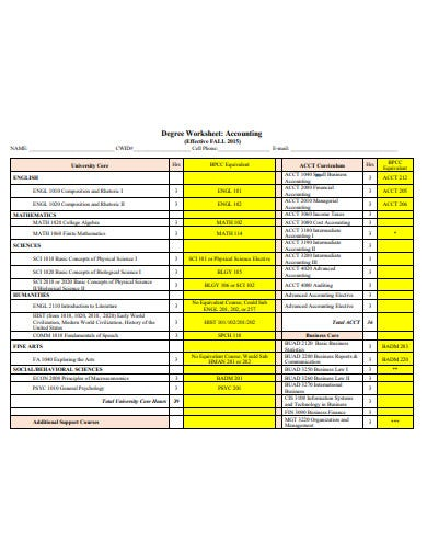 degree worksheet accounting template