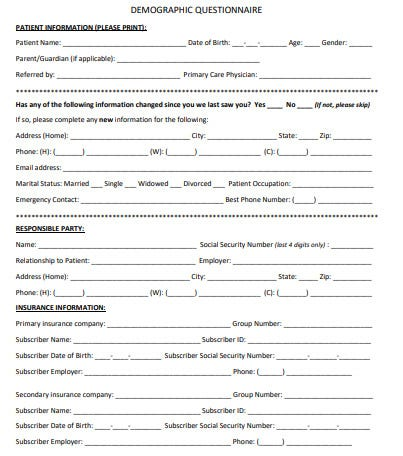 demographic questionnaire template in pdf