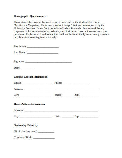 demographic questionnaire template