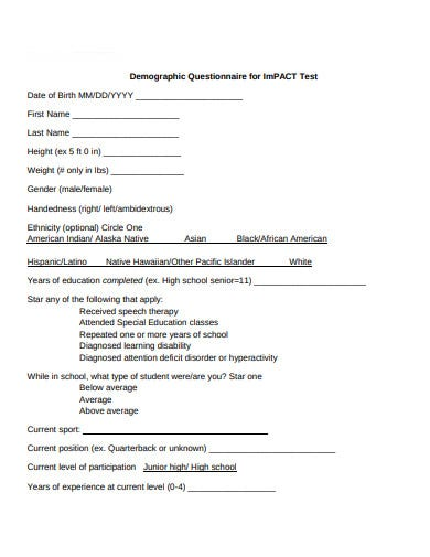 demographic questionnaire for impact test
