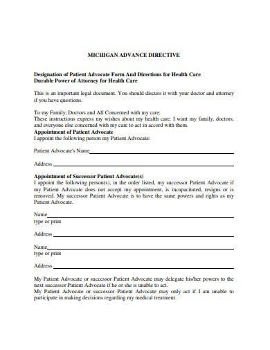 designation of patient advocate form
