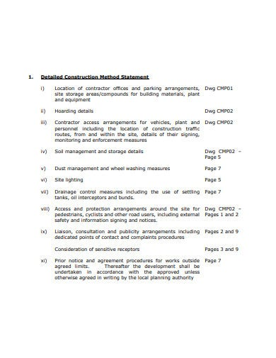 detailed construction method statement