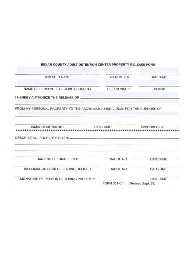 detention property release form template
