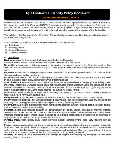digit contractual liability policy document template