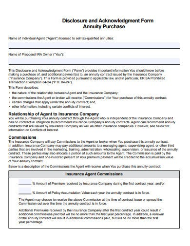 disclosure and acknowledgment form for annuity