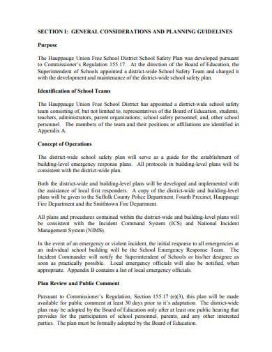 district wide school safety plan format