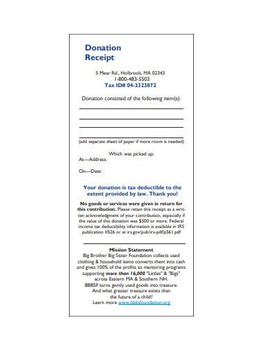 donation receipt letter example