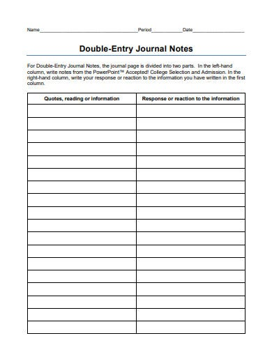 double entry journal notes