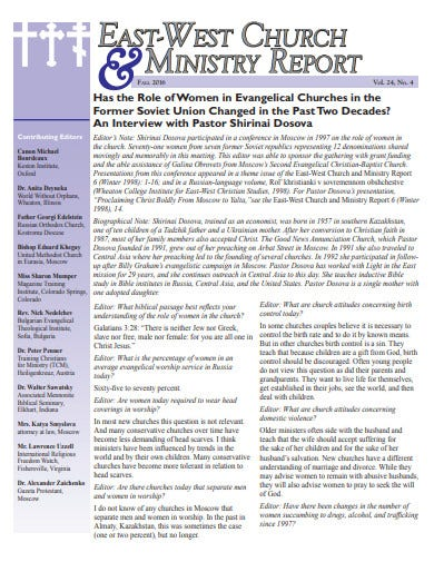 east west church ministry report