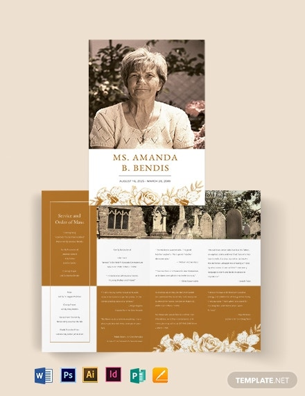 editable cremation funeral bi fold brochure template