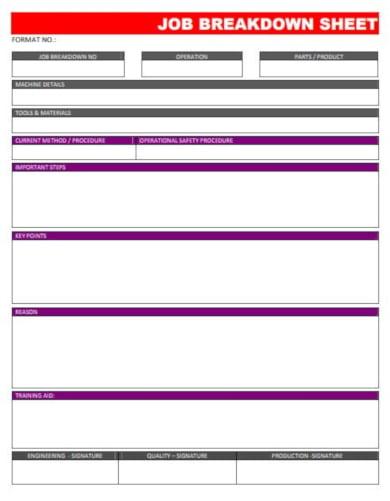 editable job breakdown sheet