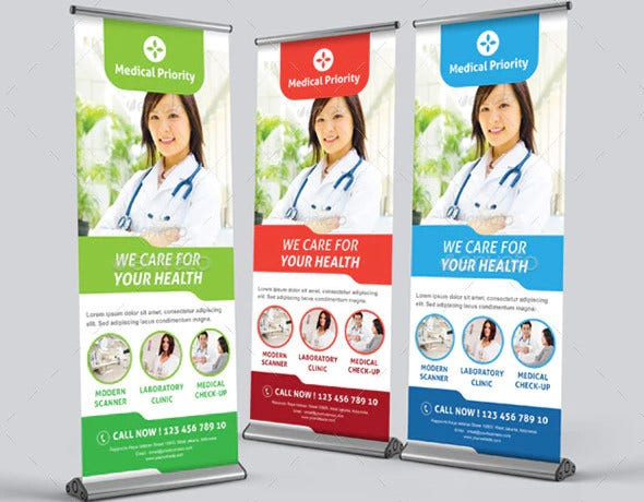 editable medical roll up banner template