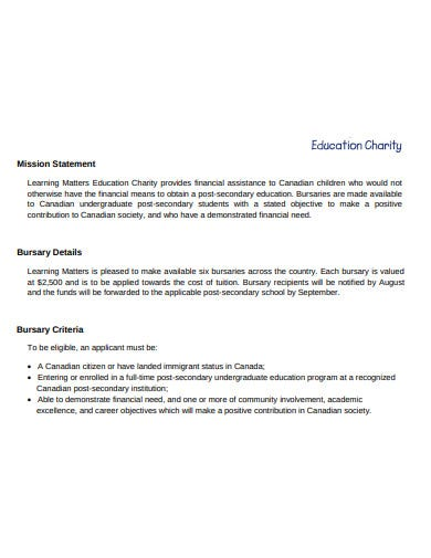 education charity mission statement template