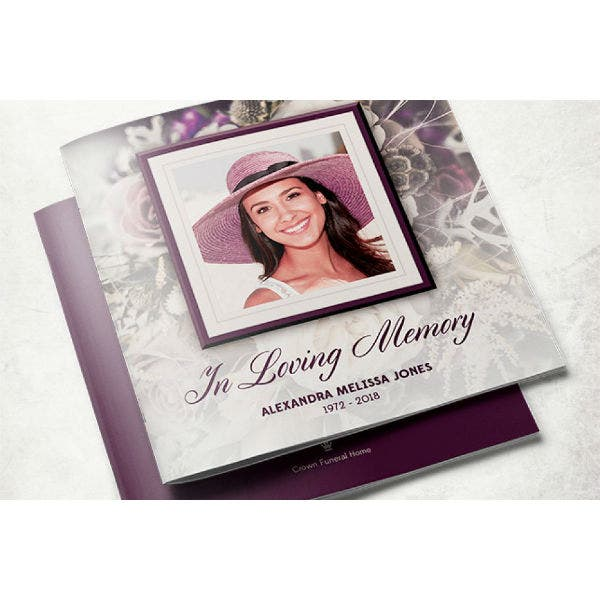 elegant purple rose funeral program brochure template