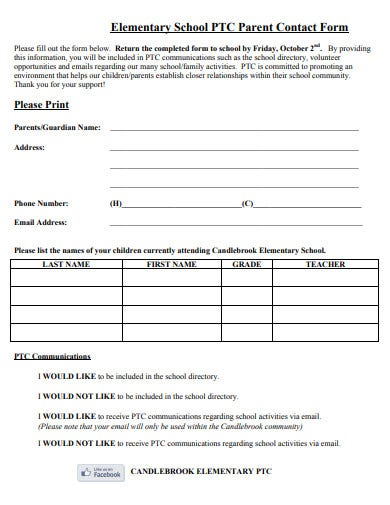 elementary-parent-contact-form-template