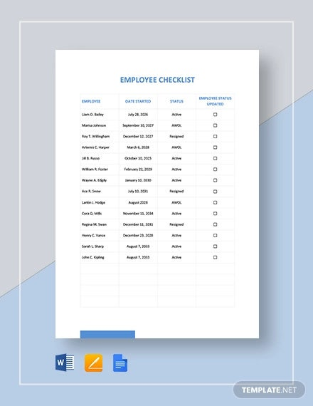 employee checklist template