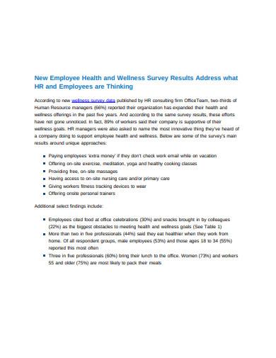 employee health wellness survey