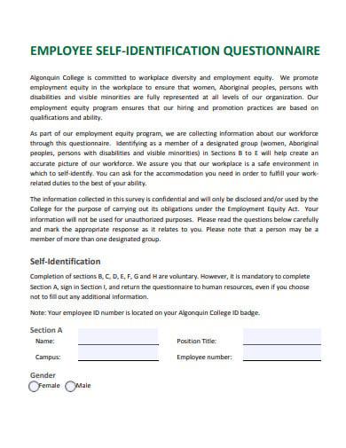 employee self identification questionnaire