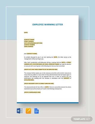 employee warning letter template