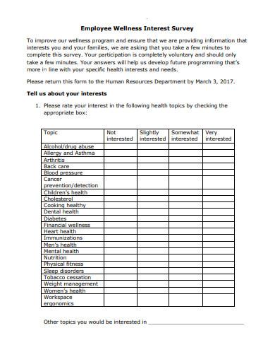 employee wellness interest survey