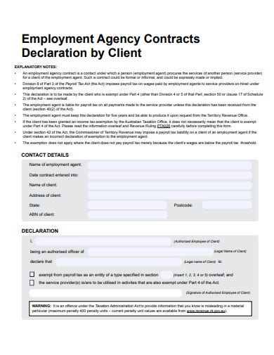 employment agency contract declaration