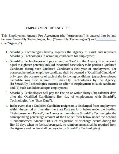employment agency fee contract