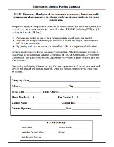 employment agency posting contract