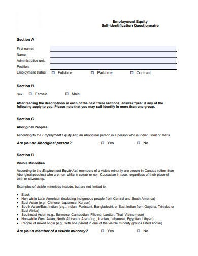 employment equity self identification questionnaire