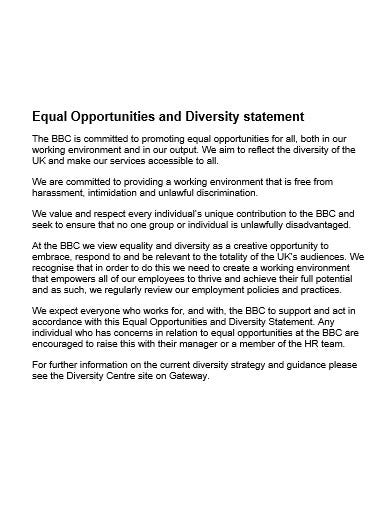 equal opportunities and diversity statement