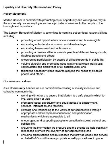 equality and diversity statement and policy