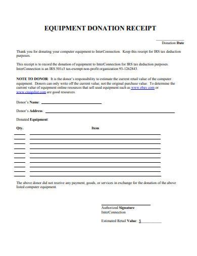 equipment donation receipt letter