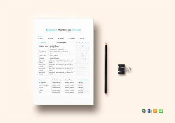 equipment-maintenance-checklist-template