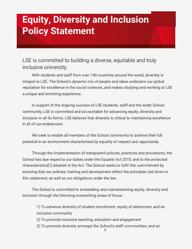 equity diversity and inclusion policy statement