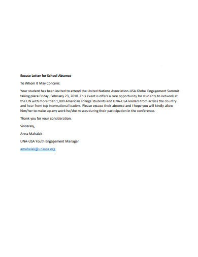 excuse letter for school absence