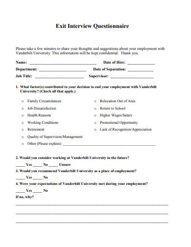 exit interview questionnaire template