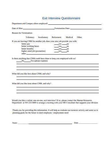 exit interview questionnaire in pdf