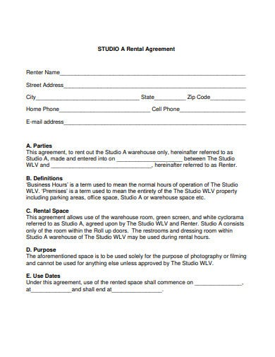 facility studio rental agreement template