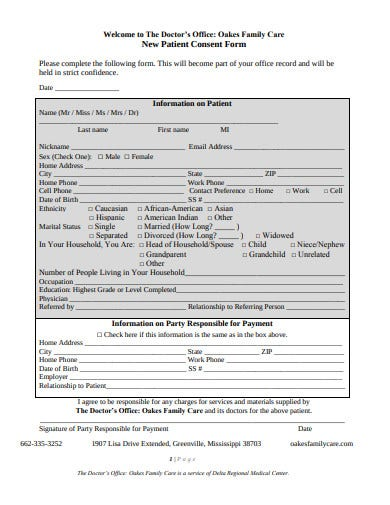 family care patient consent form template