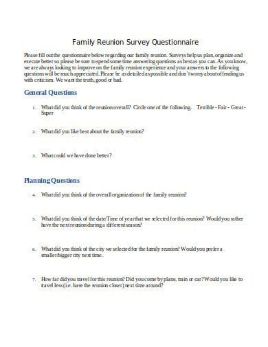 family reunion survey questionnaire example